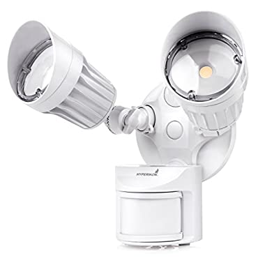 Hyperikon LED Outdoor Flood Light with Motion Sensor, 20W, 2 Head, White, LED Security Light, 5000K