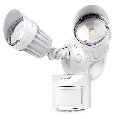 Hyperikon LED Security Light with Motion Sensor, 2 Head Dusk to Dawn, 20 Watts, UL Listed, White