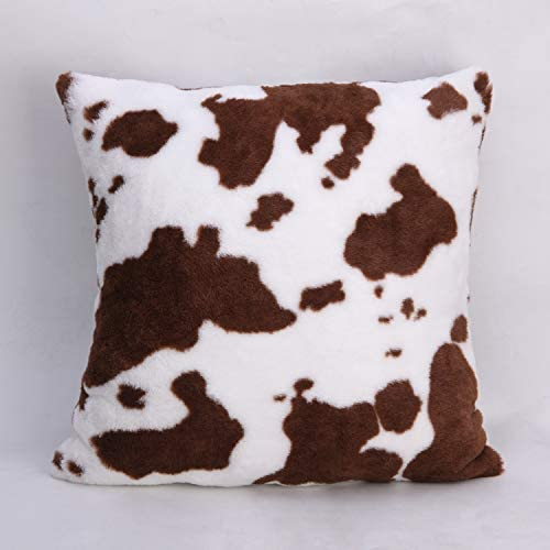 cygnus Brown and White Cow Print Throw Pillow Cover Faux Fur Soft Cowhide Pattern Farm Decor product image
