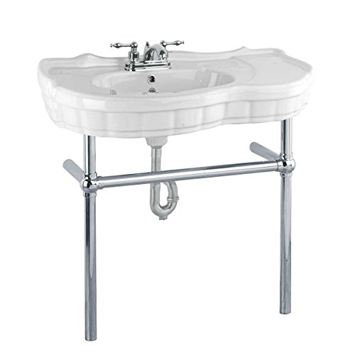 White Console Bathroom Sink 35.37