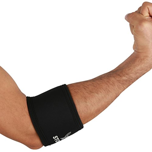 Stoic 7MM Compression Sleeve Cuff (Heavy Neoprene Construction) For arm, elbow, lower leg compression and warmth while weight lifting, powerlifting, bench pressing (9 Inch, Black)