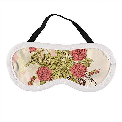 Draagbaar Oogmasker voor Mannen en Vrouwen, Hand Geschilderde Rose Bike De Beste Slaap masker voor Reizen, dutje, geven U De Beste Slaap Omgeving
