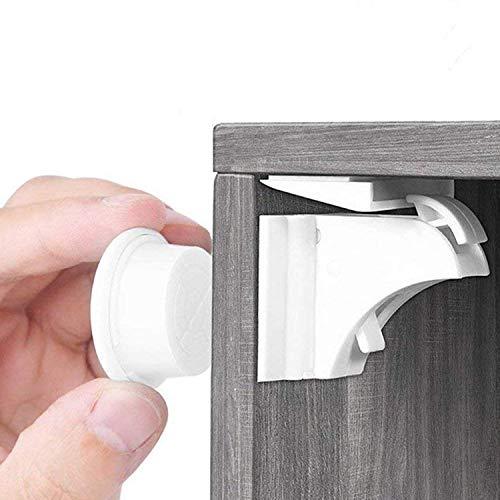 BALFER® Cerraduras Invisible Magnéticas de Seguridad para Niños, Cierres de seguridad Para Cajones Armarios,Bloqueo,Sin Perforaciones (10 cerraduras + 2 llaves)