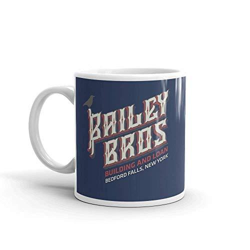 Lsjuee BAILEY BROS EDIFICIO Y PRESTAMO. Las tazas de 11 onzas son el regalo perfecto para todos. Tazas de café clásicas de 11 oz, mango en C y cer