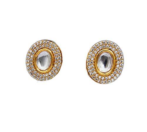 JewelryOnClick chapado en oro-cobre ovalada White Circonita cúbica, Kundan.