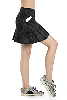 Annjoli Womens Skort Active Athletic Skirt for Running Tennis Golf Workout Sports Skorts (L, Fantasy Black)