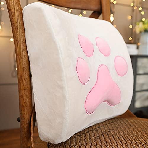 Dreafly Almohada de garra de gato de dibujos animados suave (2021 espuma viscoelástica asiento de coche silla de oficina almohada lumbar decoración del hogar