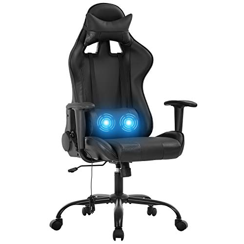 Gaming Chair Office Chair Desk Chair PU Leather Rolling Adjustable Computer Chair with Lumbar Support Headrest Armrest Swivel Massage Racing Chair for Gamer Adults(Pink)