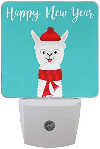 Paquete de 2 lámparas LED de luz nocturna con impresión de alpaca para dormitorio, baño, pasillo, escaleras, 0,5 W, Reino Unido Jack