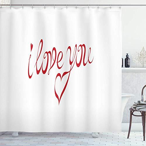 Ich liebe dich Duschvorhang,wirbelnde Buchstaben-Schriften in roter Farbe mit herzförmigen Punkten Kalligraphie-Design,Stoff Stoff Badezimmer Dekor Set mit,weiß rot mit 12 Kunststoffhaken 180x180cm
