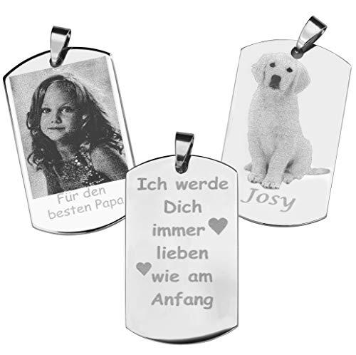Dogidogs Dogtag Schmuckanhänger mit Gravur Fotogravur aus poliertem Edelstahl Silber 50 x 29 mm mit einseitiger Gravur und Schmucketui