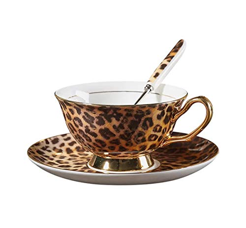 YBK Tech Euro Style Cup& Saucer Set Art Bone China Ceramic Tea Coffee Cup for Home Kitchen Wedding (Leopard Pattern)
