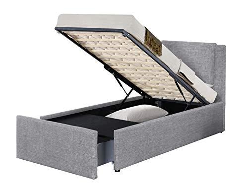 Conjunto Floki cama de lino gris claro 90 x 190 cm + colchón nube 24 cm