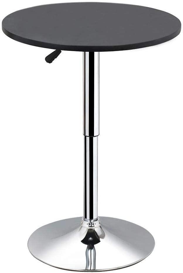 Yaheetech Max 79% OFF Recommendation Round Pub Bar Table Black Base with Top MDF Silver Leg