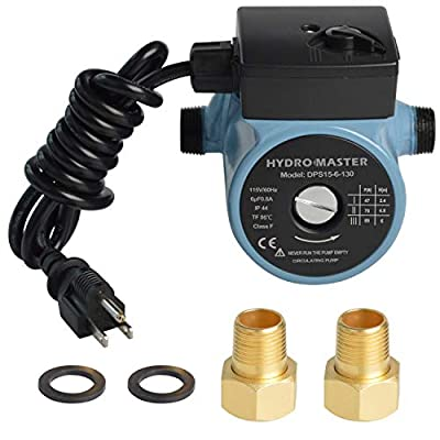 "HYDRO MASTER 0220840 3/4"" NPT Hot Water Circulator Pump with 3-Speed Control for Water Heater System (US standard Plug Included)"