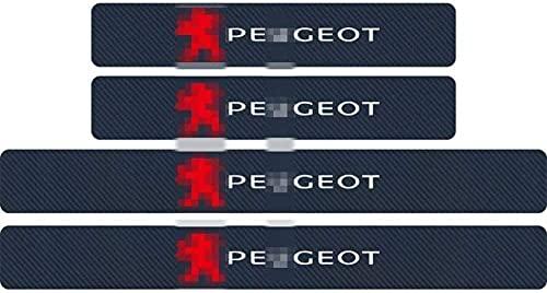 MEIDUN 4pcs Fibra De Carbon Placa De DecoracióN Estribos Desgaste AlféIzar Puerta, Protector Umbral Pasos Pedal Coche AntiarañAzos Accesorios, para Peugeot 107 108 206 207 308 307 508 2008 3008
