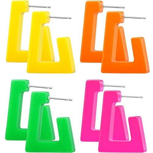 4 Pairs 80s Women Retro Earrings Geometric Dangle Neon Earrings for Party Costume Accessory (Color Set 1)