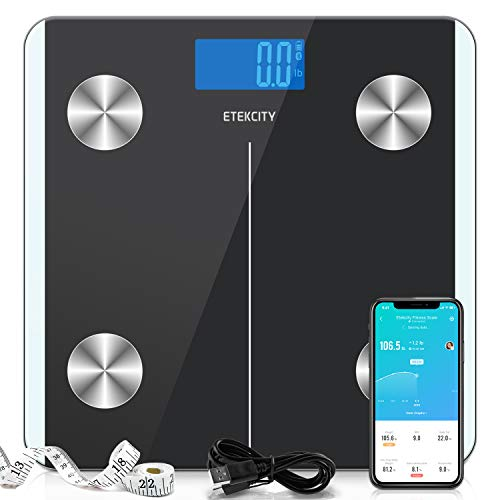 Etekcity Digital Body Weight Scale Smart Bluetooth Rechargeable Body Fat Analyzer Tracks 13 Key Compositions 400 lbs