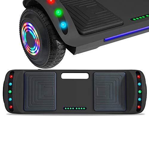 NHT Latest Generation Electric Hoverboard Build-in Bluetooth Speaker Electric Self Balancing Scooter Hover Board with LED Lights Safety Certified (Solid Black) (Solid Black)