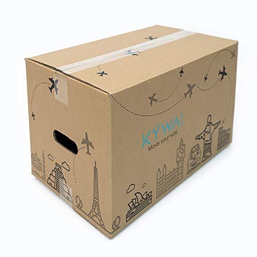 KYWAI. Confezione da 10 scatole di cartone per trasloco, 50 x 30 x 30 cm, grandi con manici, scatola di cartone rinforzato, per riporre oggetti