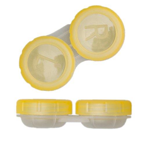 TOP Kontaktlinsen Behälter Aufbewahrungsbehälter Linsenbehälter mit Schraubverschluß in vers. Farben (sonnengelb)
