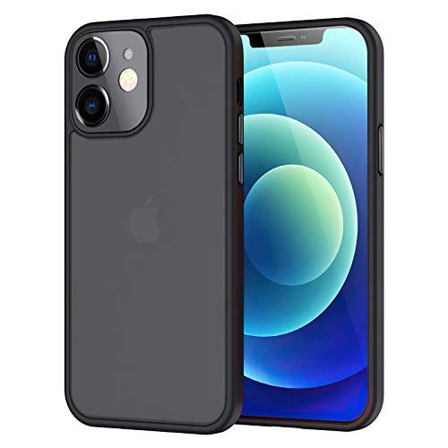 Seomusen Hülle Kompatibel mit iPhone 12 Mini (5,7 Zoll) [Matte Oberfläche] Kratzfest PC Rückseite Handyhülle Soft Weich TPU Bumper Silikon Schutzhülle Case für iPhone 12 Mini-Schwarz