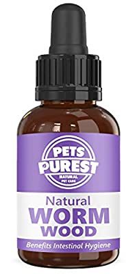 Pets Purest 100% Natural Wormwood Formula - Natural Alternative to Nasty Chemical Products - Benefits Intestinal Hygiene - For Dogs, Cats, Poultry, Birds, Ferrets, Rabbits & Pets (1-2 Year Supply)