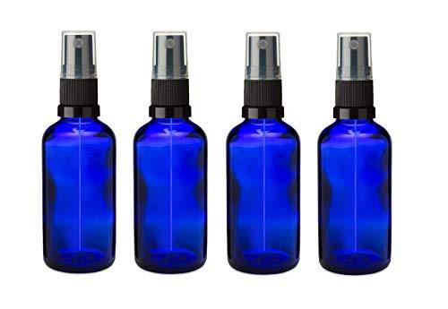 4 PCS Bouteille en verre bleu de 50 ml avec atomiseur spray NOIR, Aromathérapie, Art, Créations, Premier Secours, Voyage Répulsif Insecte Visage Spritzer etc…