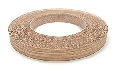 """Red Oak 1"""" X 50' Roll, Wood Veneer Edgebanding Preglued - Flexible Wood Tape, Easy Application Iron On with Hot Melt Adhesive. Smooth Sanded Finish. Made in USA"""