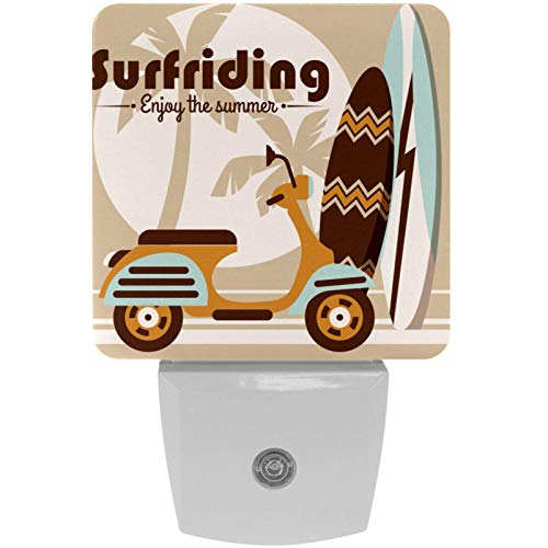 Paquete de 2 luces nocturnas LED de luz nocturna de dibujos animados para coche y tabla de surf con sensor de atardecer a amanecer para habitación de los niños