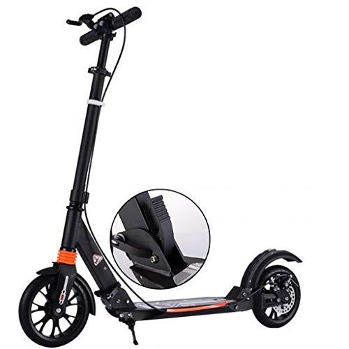 GTYMFH Scooter de pie Todas Aluminio Doble absorción de Choque Plegable de Dos Ruedas Vespa Freno de pie clásico portátil Plegable Ciudad de cercanías Scooters no eléctricos, Scooter de Ciudad