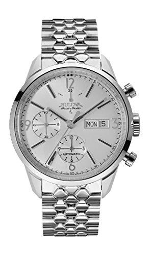 Bulova, Accu Swiss Murren, 63C118, Orologio automatico, da uomo, con cronografo, cinturino in acciaio INOX, colore: argento