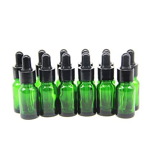 Yizhao Verde Frasco Cuentagotas Cristal 5ml, Botellas Cuentagotas con [Pipeta Cuentagotas Cristal], para Aceite Esencial, Masaje,Fragancia, Aromaterapia, Laboratorio, E-Líquidos - 12Pcs