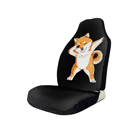 Little Yi Las fundas de los asientos delanteros para automóviles Dabbing Doge Shiba Inu se adaptan a la mayoría de los automóviles
