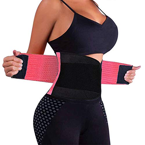 VENUZOR Waist Trainer Belt for Women - Waist Cincher Trimmer - Slimming Body Shaper Belt - Sport Girdle Belt (UP Graded)(Pink,Medium)