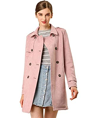 Allegra K Women's Notched Lapel Double Breasted Faux Suede Trench Coat Jacket with Belt S Pink from Allegra K