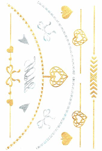 Jewelry Body Flash Tattoo Gold Silver Metallic armband hart Love JM-02