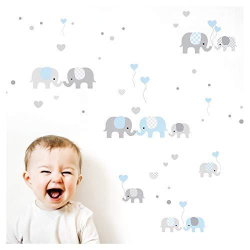 Little Deco Wandtattoo Kinderzimmer Junge Elefanten Grau Blau I Zwei A4 Bögen I Wandaufkleber Deko Aufkleber Babyzimmer Wandsticker Jungs Sticker DL340