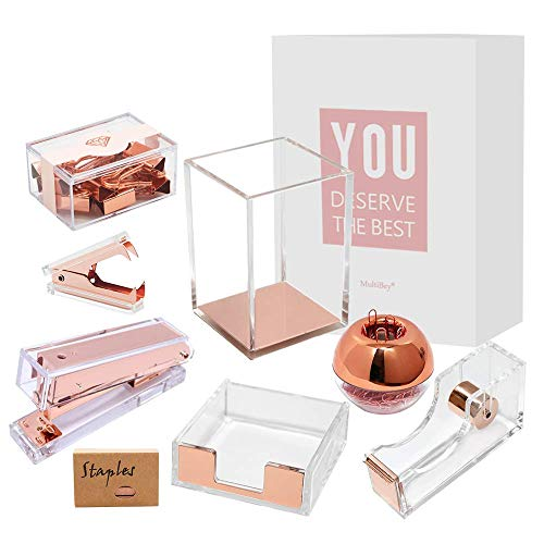 Clear Rose Gold Acrylic Office Supplies Desk Accessories Organizer Set Stapler, Tape Dispenser Cutter, Sticky Note Tray, Paper Clip Holder, Binder Clips, Staples Remover Pen Holder Pencil Organization