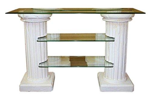Antikes Wohndesign TV Regal TV Rack TV Schrank Kassentisch Verkaufstresen Säulenregal Steinmöbel Griechische Möbel Höhe: 72cm Weiß