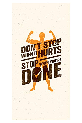 LimeWorks Badetuch, 70x140 cm, Motivations-Sprüche Zitate Quotes für Sport & Fitness - Don't Stop When it Hurts, Stop When You Are Done, Made in EU