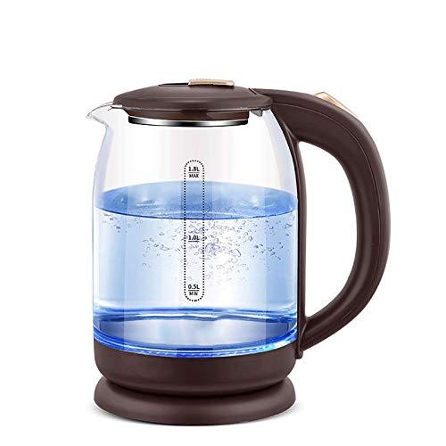 zcyg Hervidor de Agua Eléctrico Hervidor de Agua de Vidrio, con luz LED Azul Luz indicadora 1.8L Caldera de Agua de Vidrio Caldera de Agua rápida sin Cuerda BPA sin Cabina de Agua Caliente.