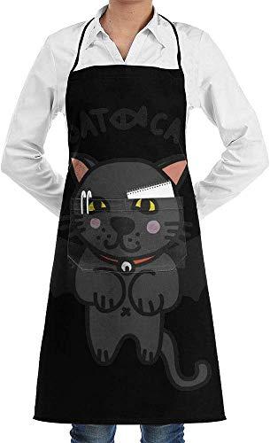 NA Delantal con Babero Ajustable Bat Cat con Bolsillos, Delantales de Cocina, Delantales de Cocina para Barbacoa, Delantal para Hornear