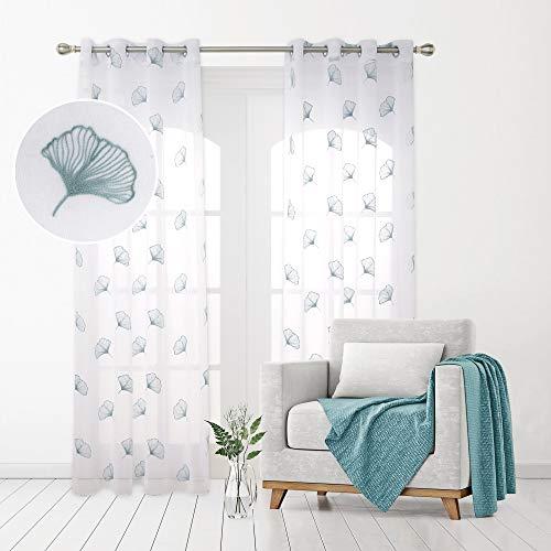 Deconovo Tende Trasparenti in Voile Ricamate per Salotto Moderne con Occhielli 140x280cm Verde Blu 2 Pannelli