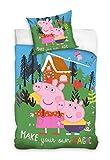Peppa Pig Funda de edredón infantil con funda de almohada de 140 x 200 cm + 70 x 90 cm de algodón
