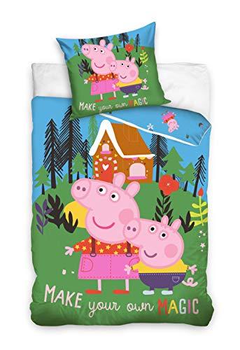 Peppa Pig Funda nórdica con funda de almohada reversible de 160 x 200 cm y 70 x 80 cm, algodón.