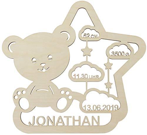 LAUBLUST Schlummerlicht Teddybär - Personalisiertes Baby-Geschenk zur Geburt & Taufe - LED Hintergrund-Beleuchtung