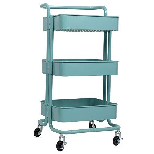 WOLTU Küchenwagen Rollwagen Servierwagen Küchentrolley mit Griff Metall Roll Regal für Küche Bad Büro mit Rollen 3 Etagen Mint RW004mt