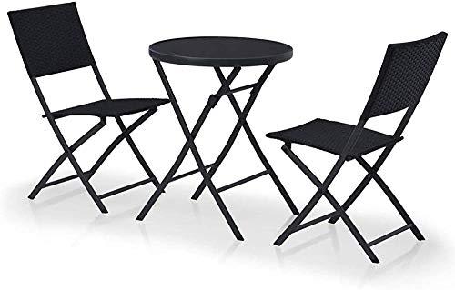 Bistro aire libre Set 3 negros poli mesas y sillas de patio de ratán jardín,Black