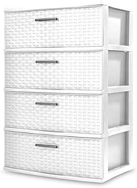 Sterilite 4 Drawer Wide Weave Tower,White